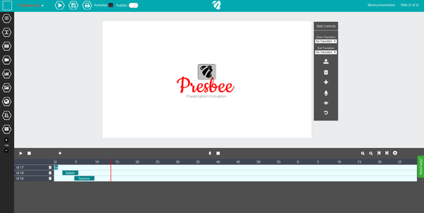 create animations in Presbee